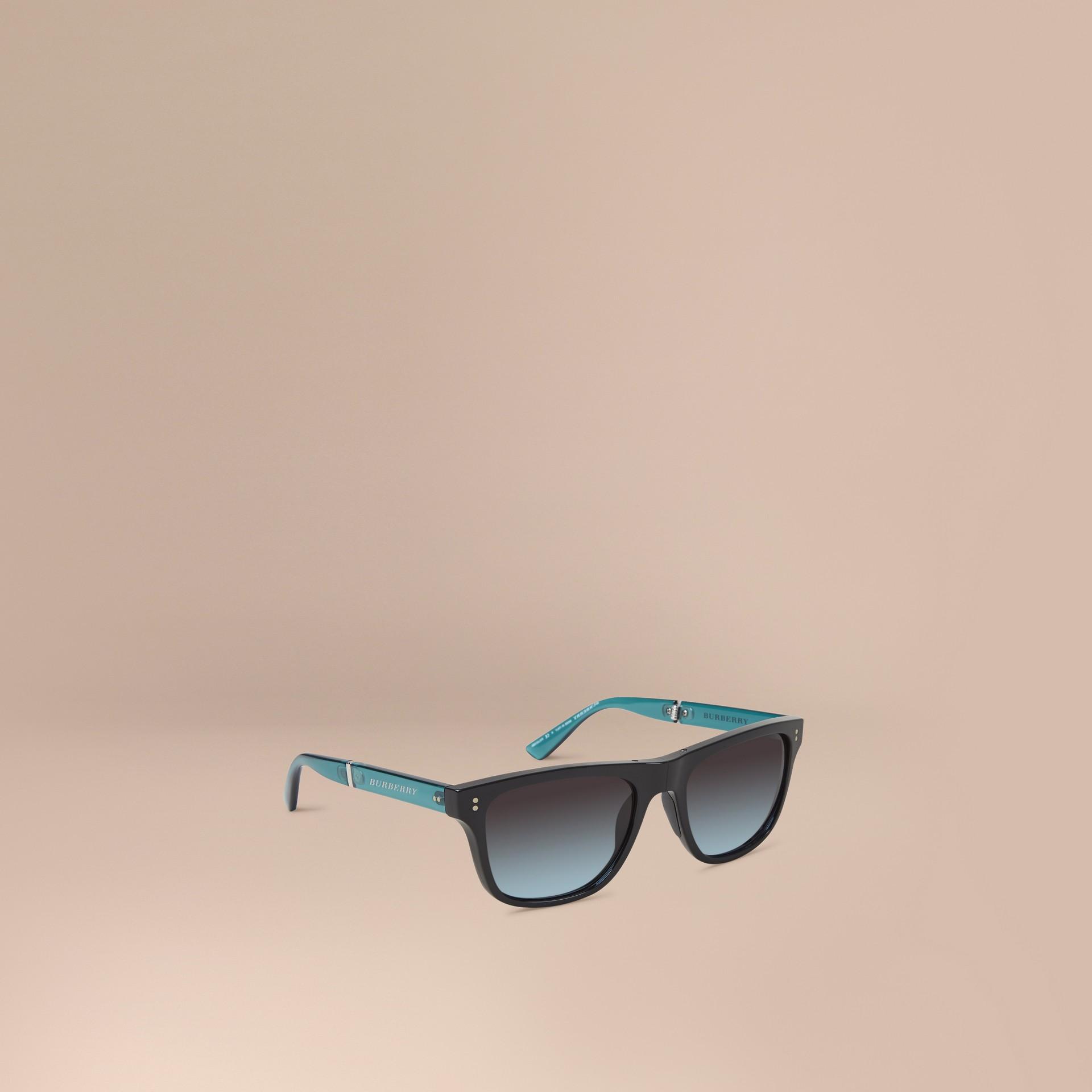 Nero Occhiali da sole con montatura rettangolare pieghevole Nero - immagine della galleria 1