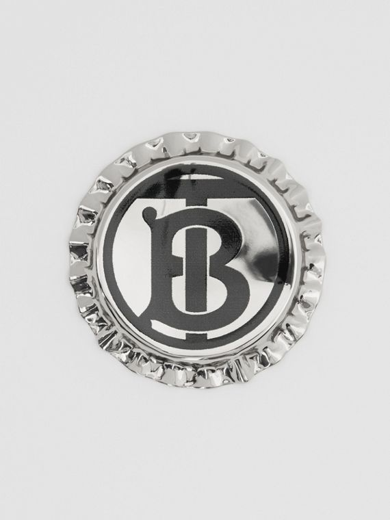 Palladium-plated Bottle Cap Brooch in Palladio