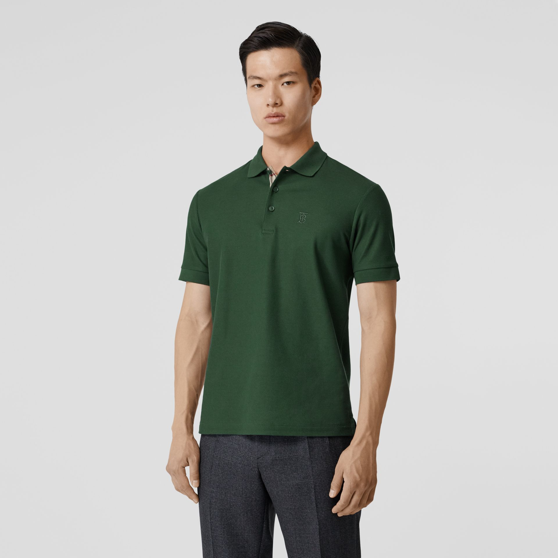 Monogram Motif Cotton Piqué Polo Shirt in Dark Pine Green - Men | Burberry - gallery image 5
