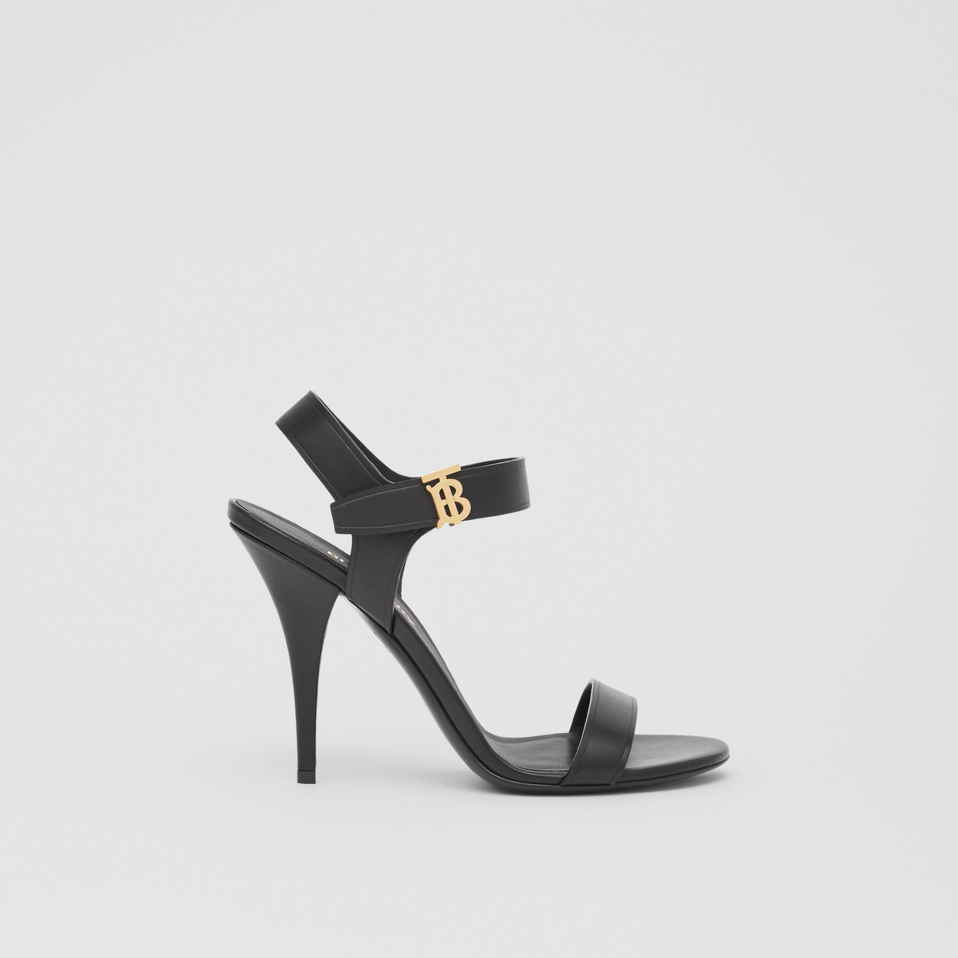 Monogram Motif Leather Sandals in Black - Women | Burberry United Kingdom - gallery image 5