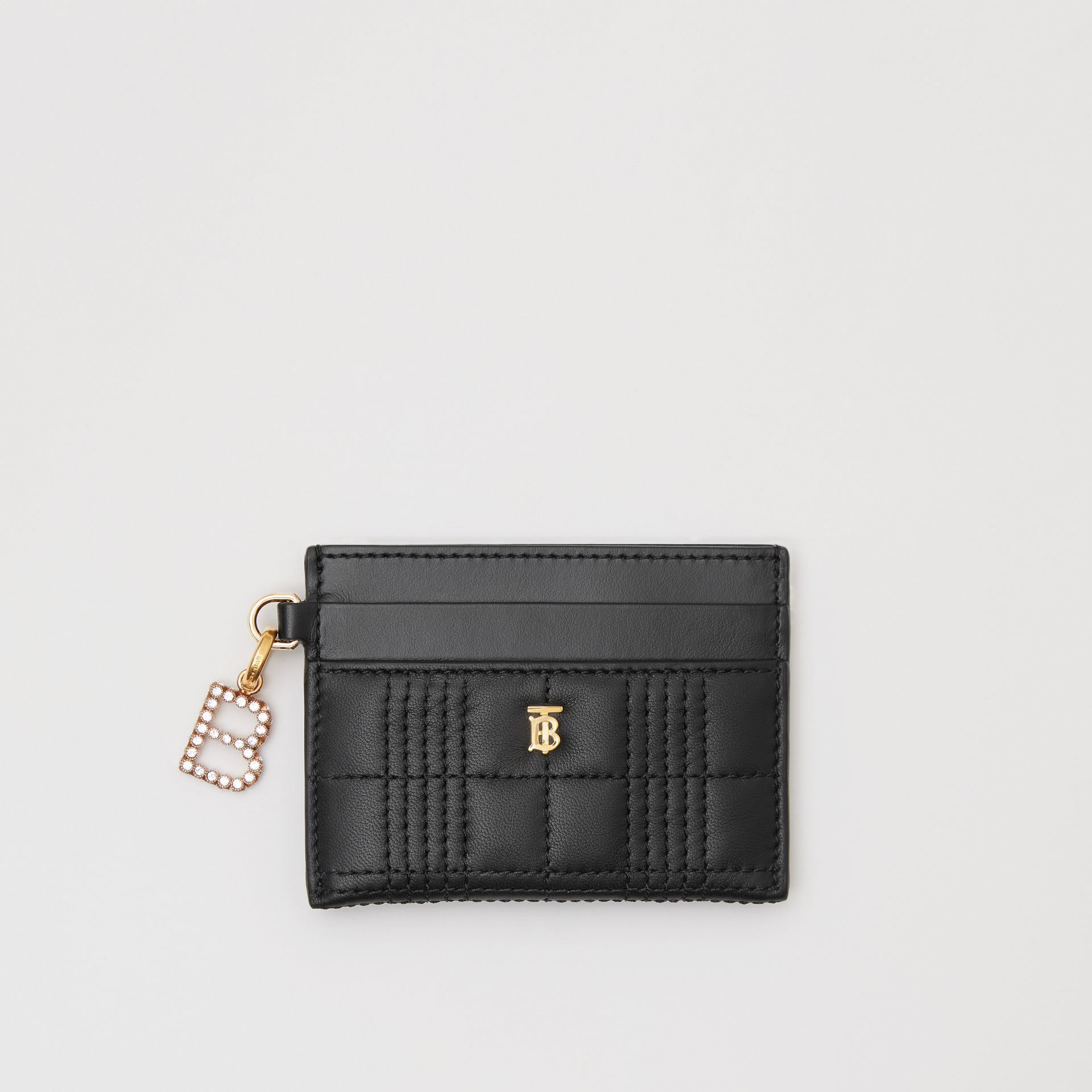 Monogram Motif Quilted Lambskin Card Case in Black - Women | Burberry - gallery image 5
