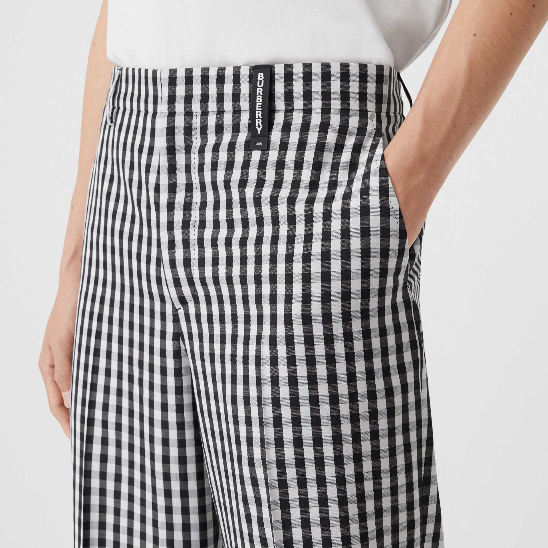 Gingham Technical Wool Wide-leg Tailored Trousers in Black | Burberry United Kingdom - gallery image 1