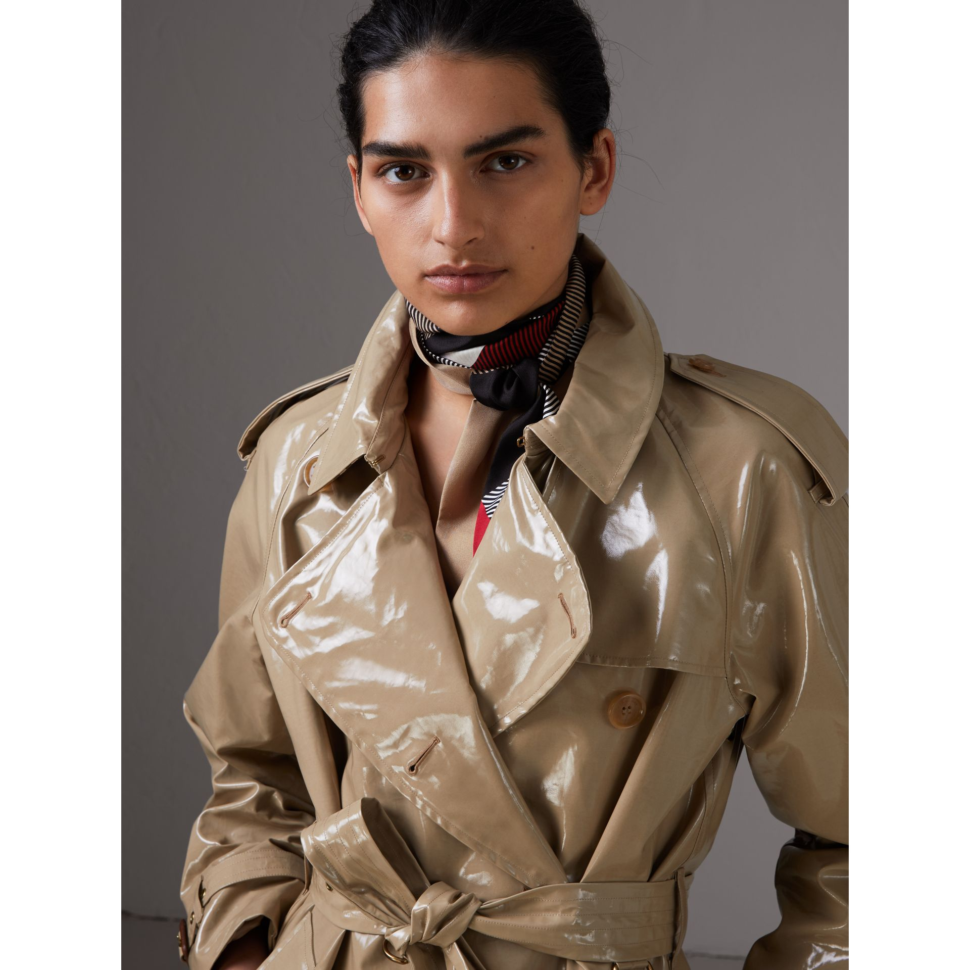 Colour Block and Striped Silk Slim Scarf in Camel - Women | Burberry - gallery image 2