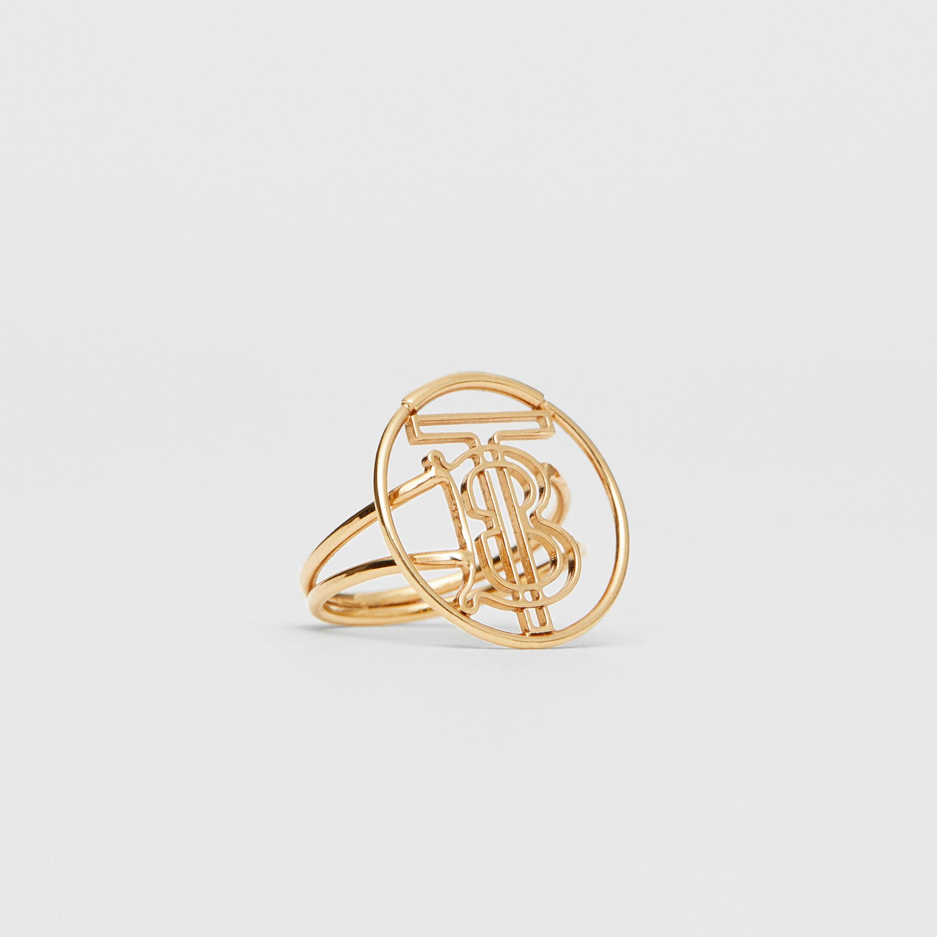 Gold-plated Monogram Motif Ring in Light - Women | Burberry - gallery image 3