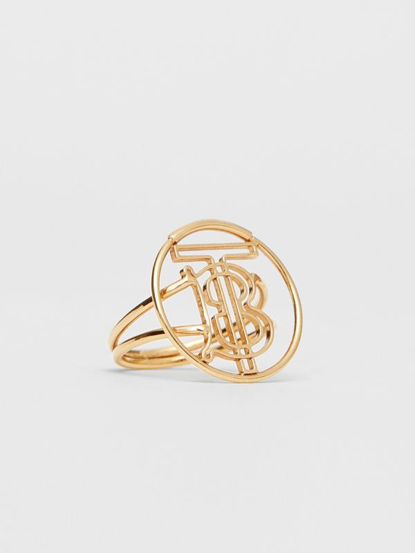 Gold-plated Monogram Motif Ring in Light - Women | Burberry - cell image 3