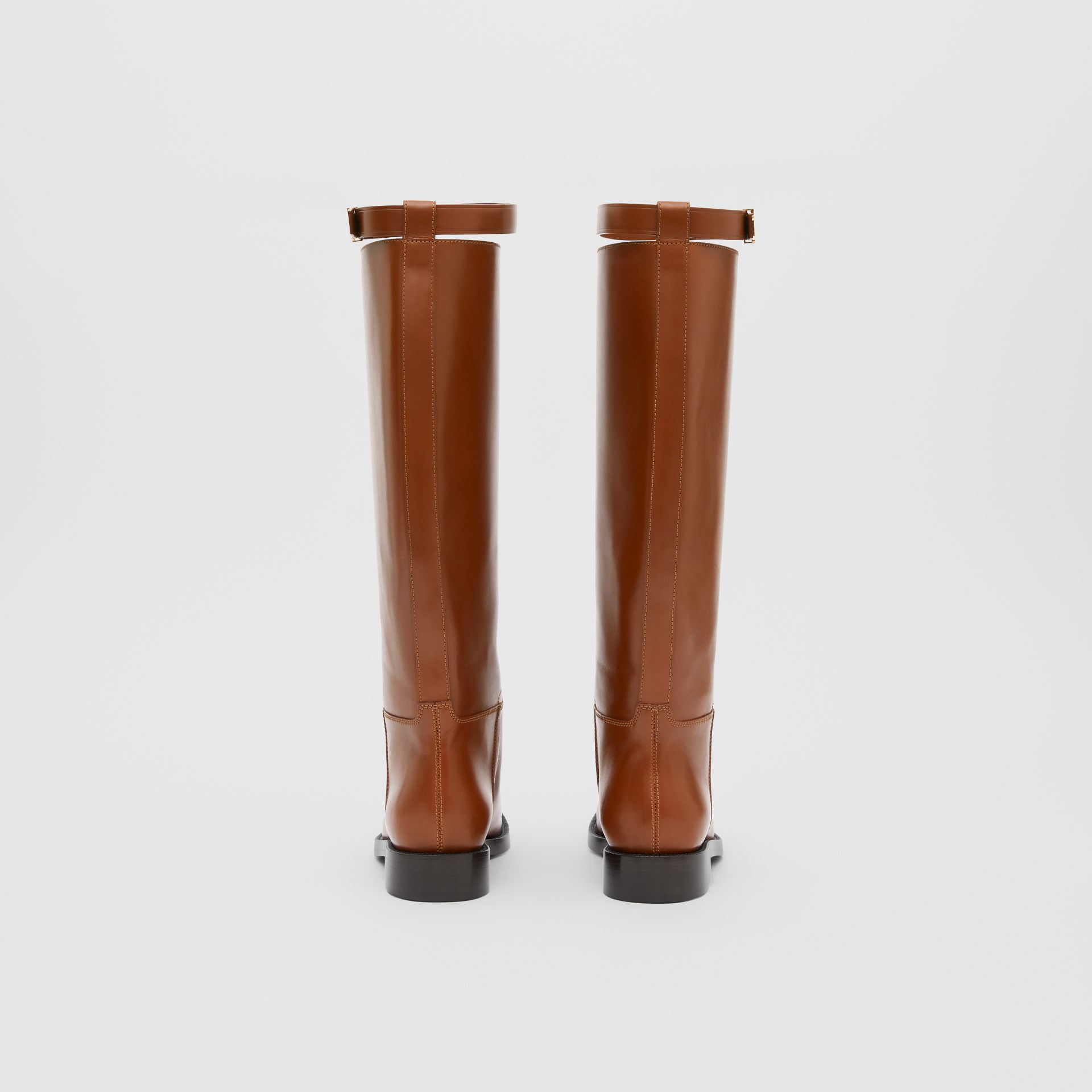 Monogram Motif Leather Knee-high Boots in Tan - Women | Burberry United Kingdom - gallery image 3