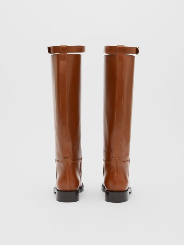 Monogram Motif Leather Knee-high Boots in Tan - Women | Burberry United Kingdom - cell image 3