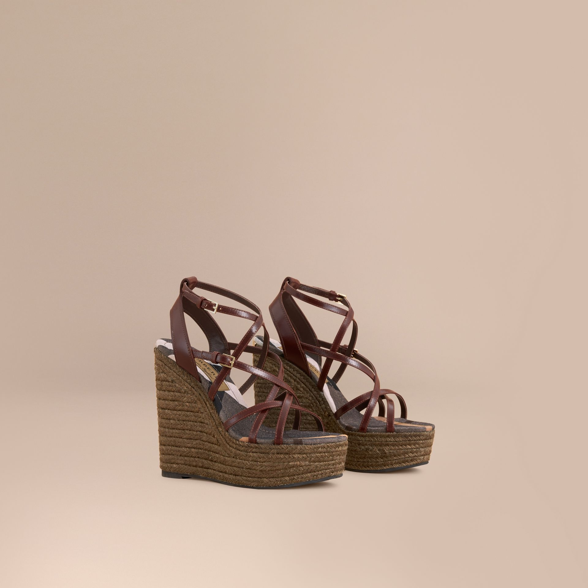 Leather Platform Espadrille Wedge Sandals in Cerise Purple - Women | Burberry - gallery image 1