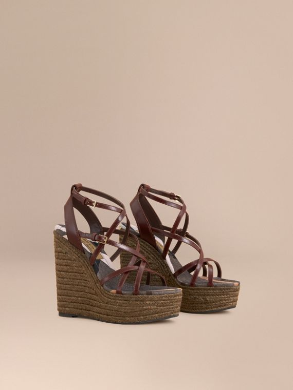 Leather Platform Espadrille Wedge Sandals in Cerise Purple