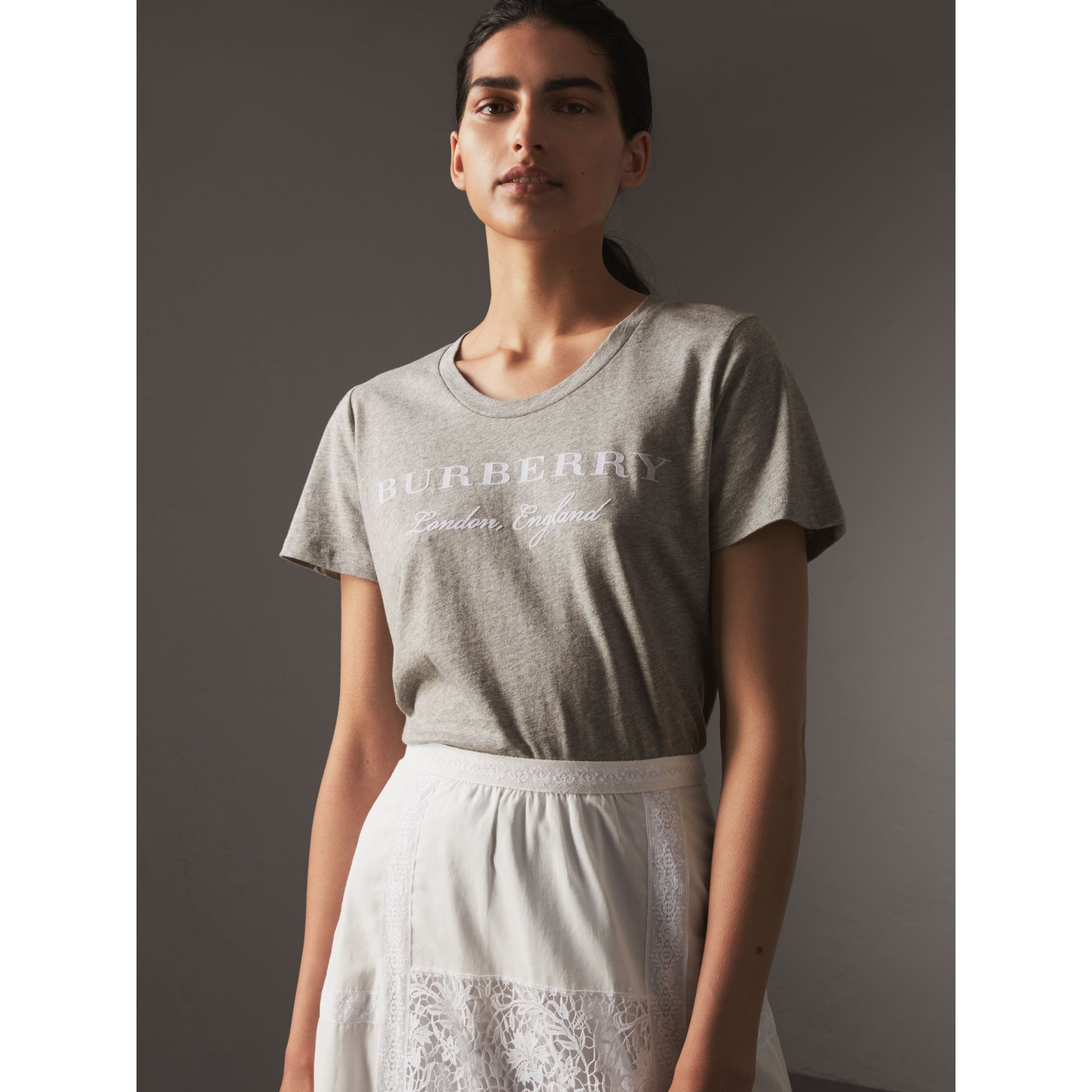 Printed Cotton T-shirt in Pale Grey Melange - Women | Burberry - gallery image 1