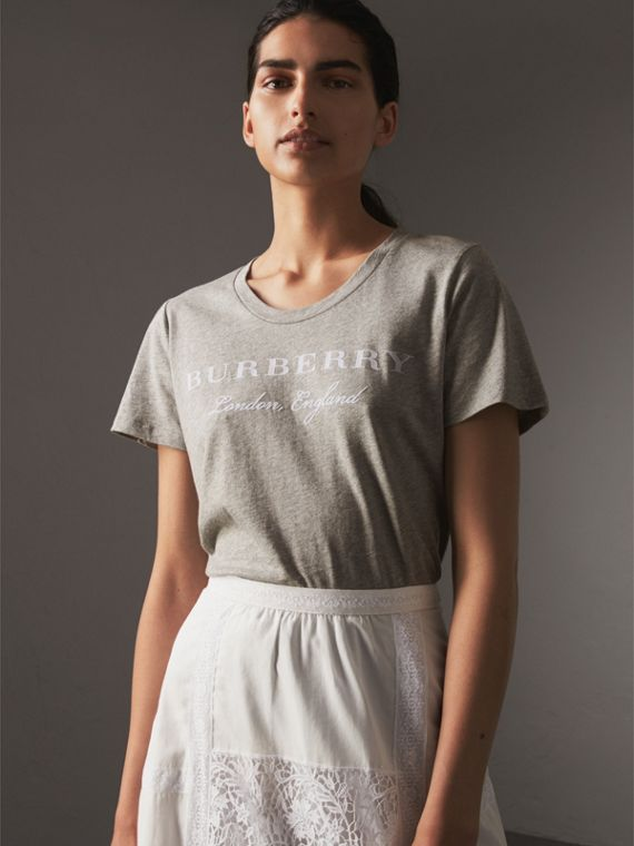 Printed Cotton T-shirt in Pale Grey Melange - Women | Burberry