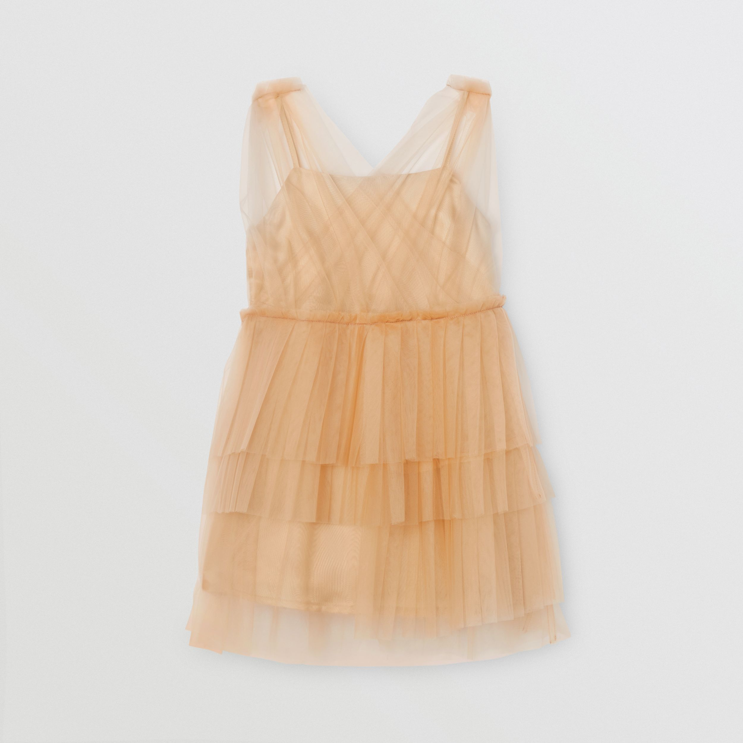 Tulle Tiered Dress in Oyster Beige - Children | Burberry - 1