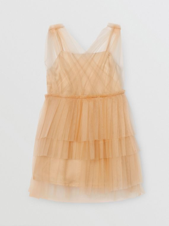 Tulle Tiered Dress in Oyster Beige