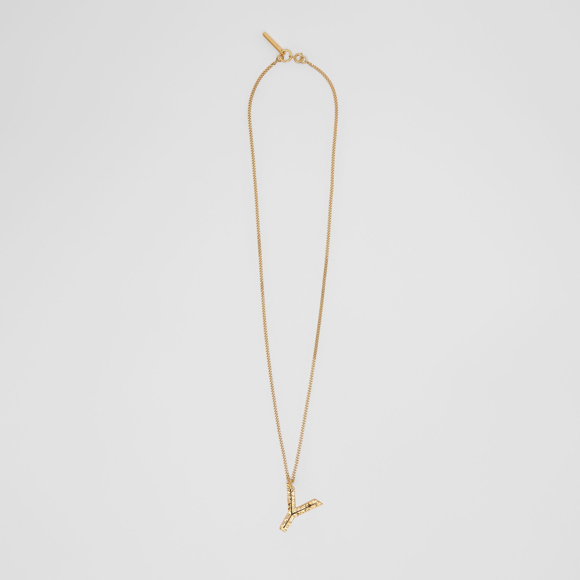 'Y' Alphabet Charm Gold-plated Necklace in Light - Women | Burberry Australia - gallery image 0