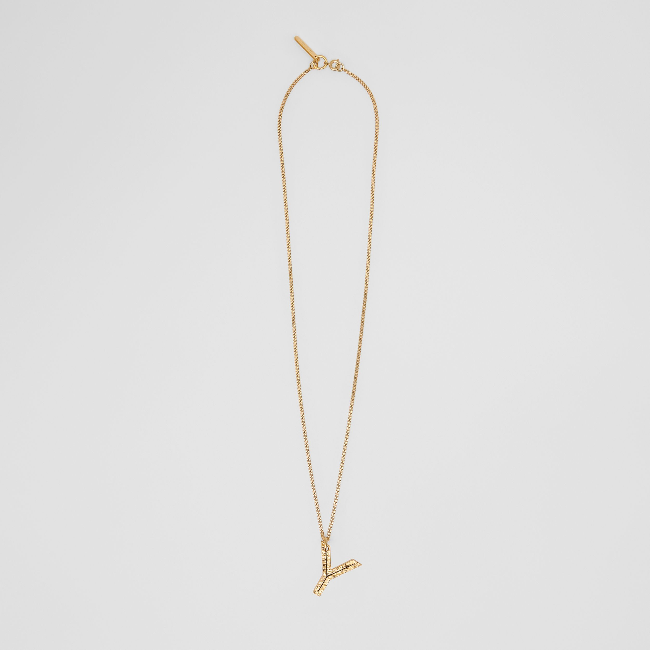 'Y' Alphabet Charm Gold-plated Necklace in Light - Women | Burberry - 1