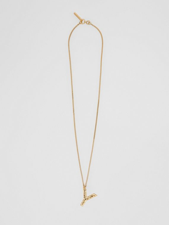 'Y' Alphabet Charm Gold-plated Necklace in Light