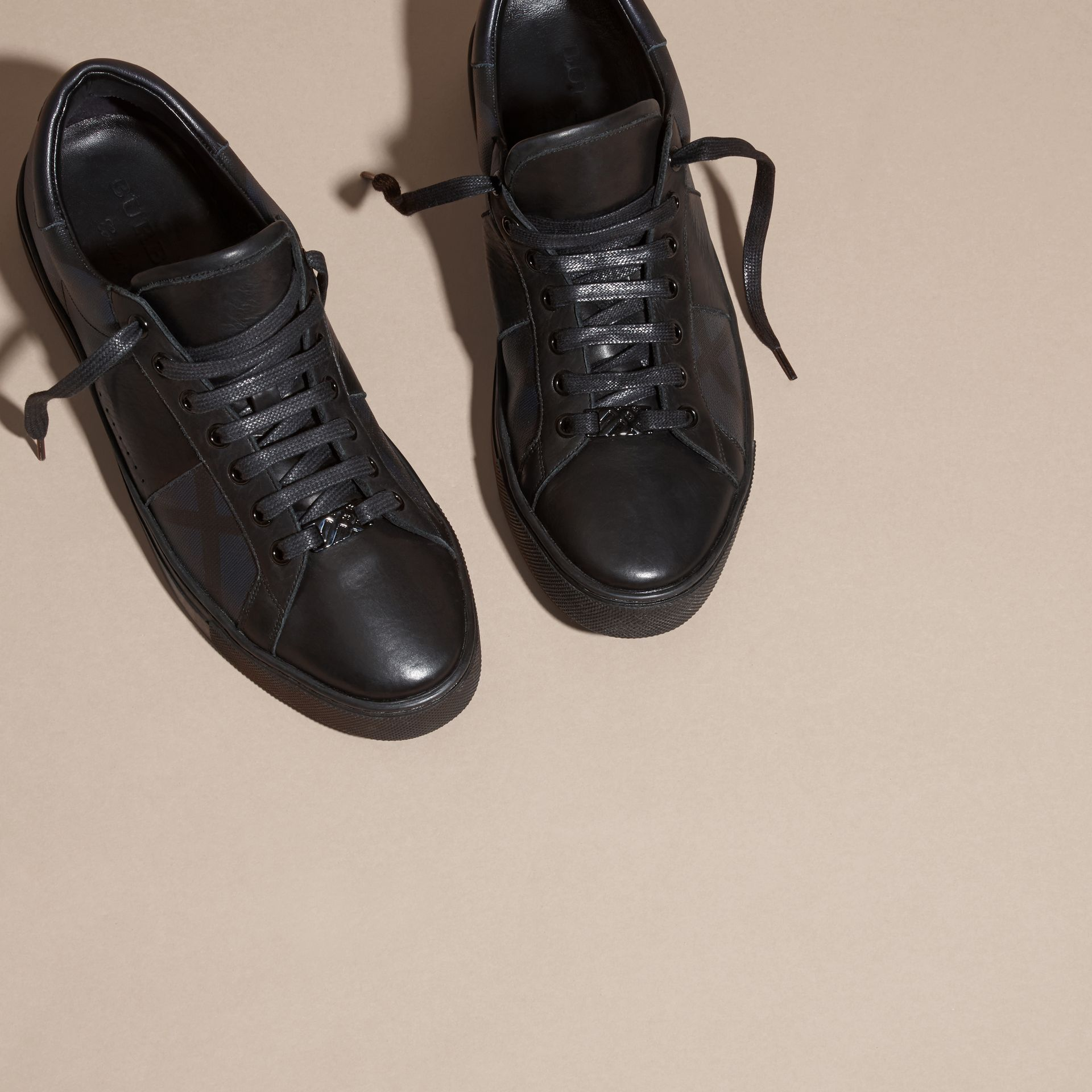 Check Detail Leather Trainers in Navy - Men | Burberry Australia - gallery image 3