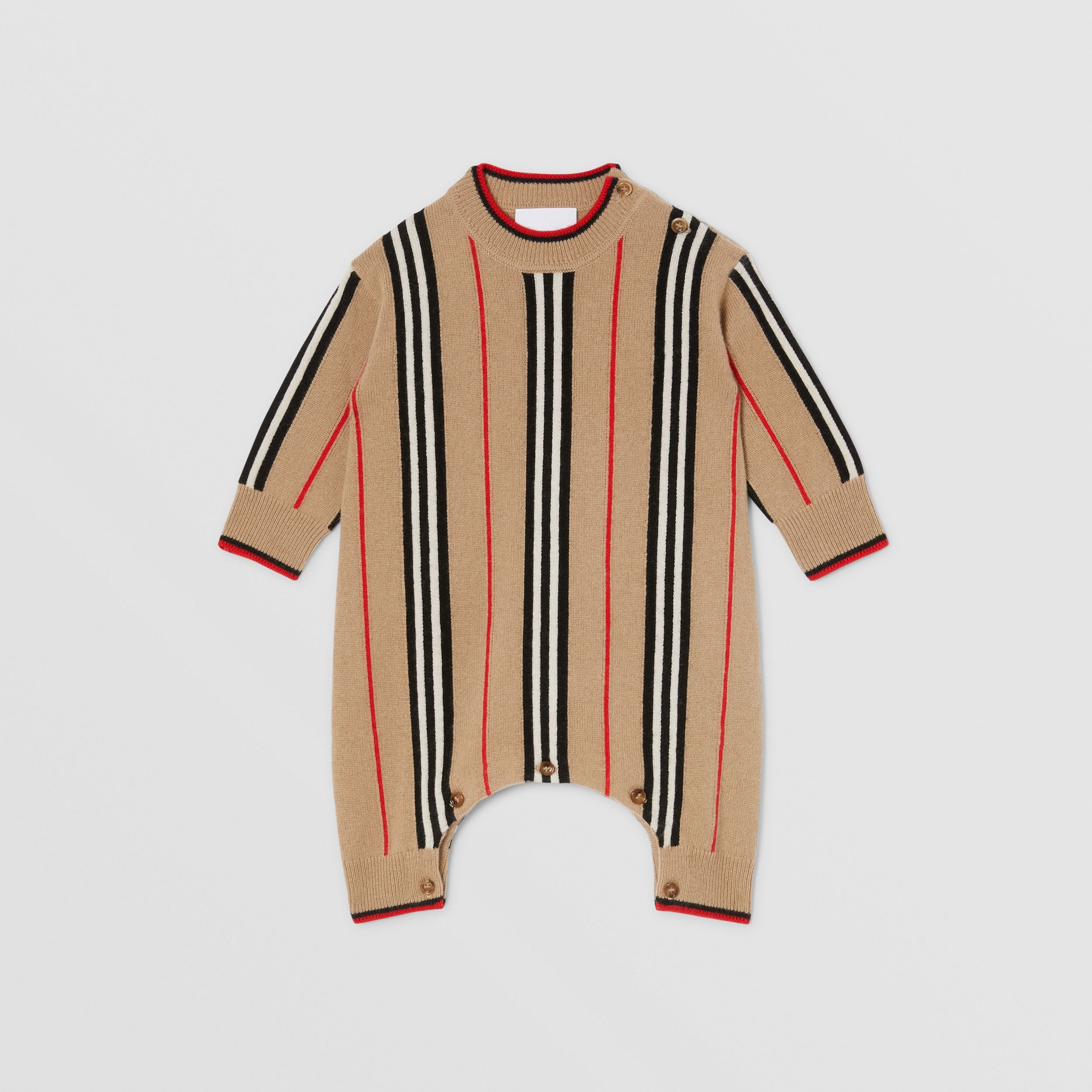 Icon Stripe Cashmere Wool Jumpsuit in Archive Beige - Children | Burberry - 1