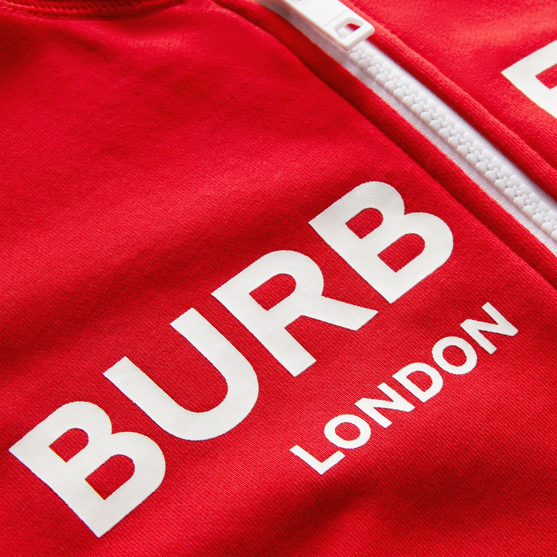 Logo Print Cotton Hooded Top in Bright Red | Burberry - gallery image 1