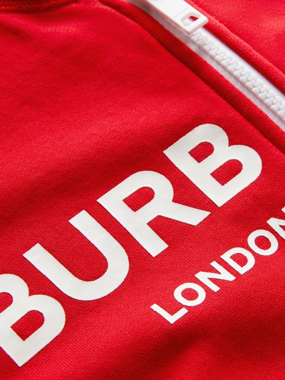 Logo Print Cotton Hooded Top in Bright Red | Burberry - cell image 1