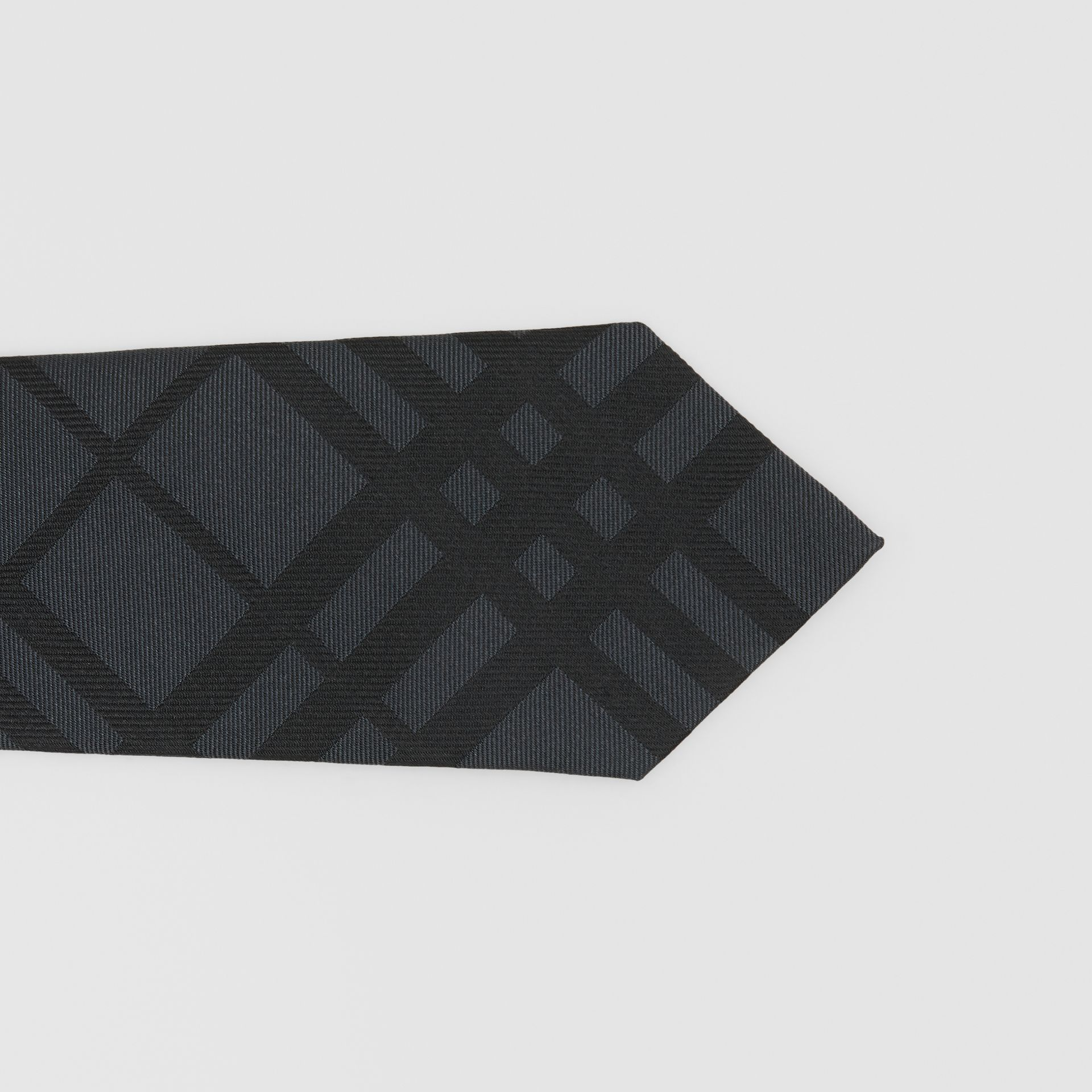 Classic Cut Check Silk Jacquard Tie in Charcoal - Men | Burberry Hong Kong S.A.R - gallery image 1