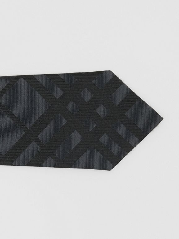 Classic Cut Check Silk Jacquard Tie in Charcoal - Men | Burberry - cell image 1