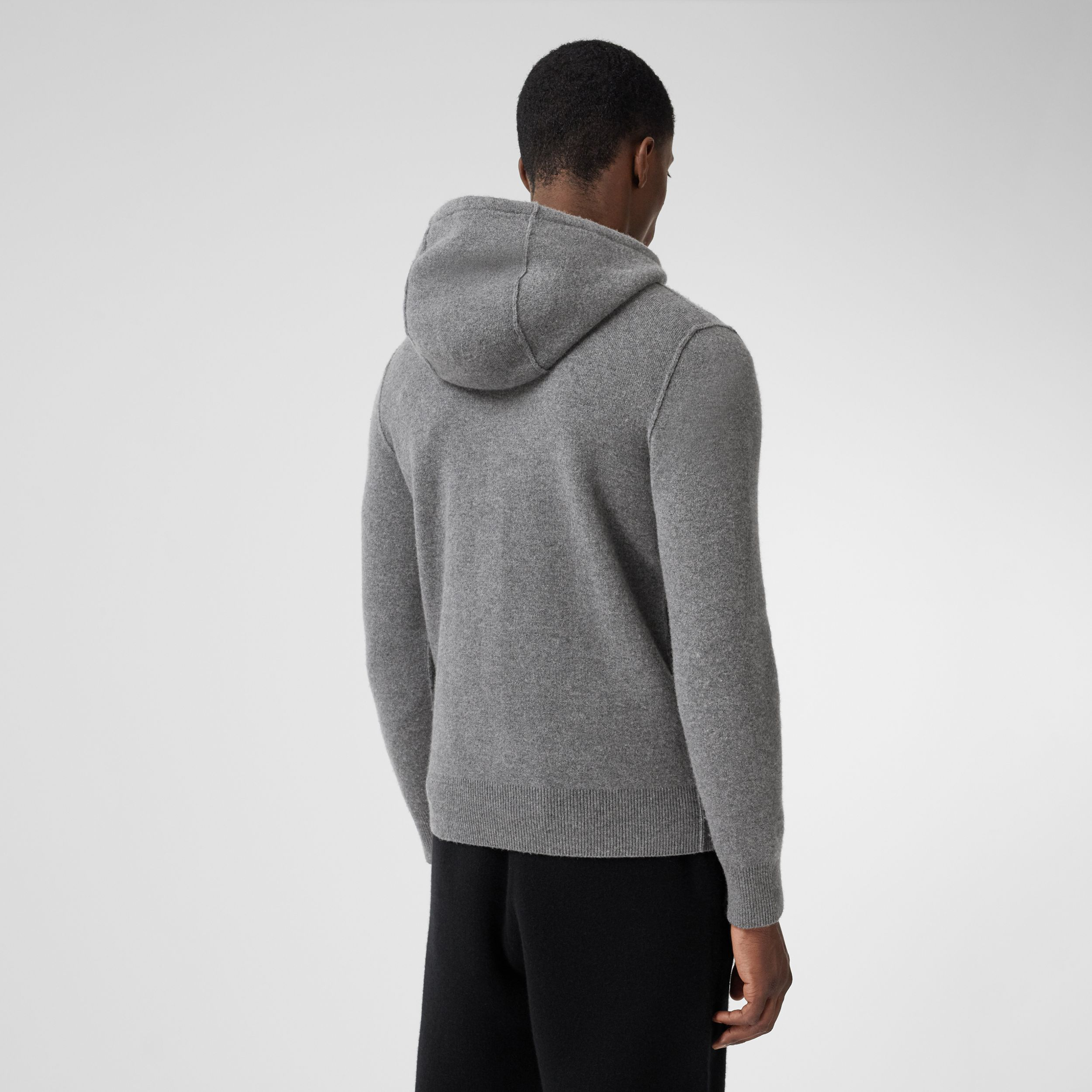 Monogram Motif Cashmere Blend Hooded Top in Mid Grey Melange - Men | Burberry - 3