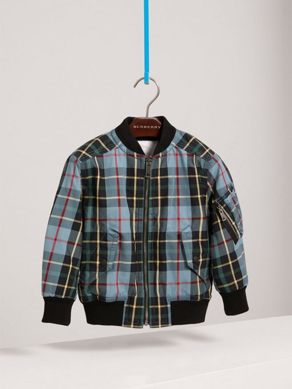 Quilted Tartan Cotton Gabardine Bomber Jacket in Cyan Blue