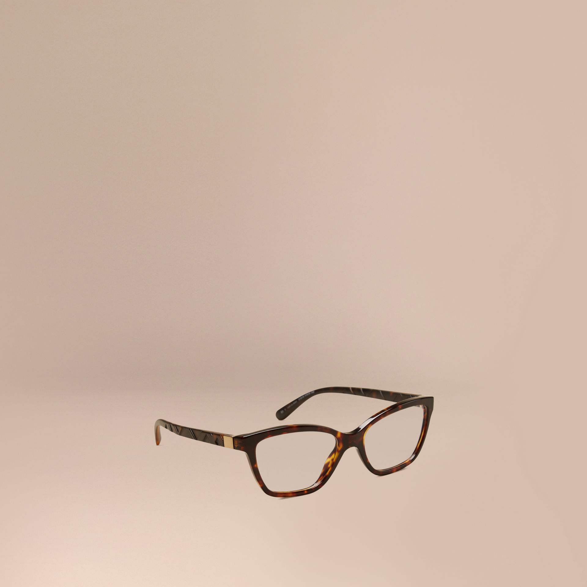 Tortoiseshell Check Detail Cat-eye Optical Frames Tortoiseshell - gallery image 1