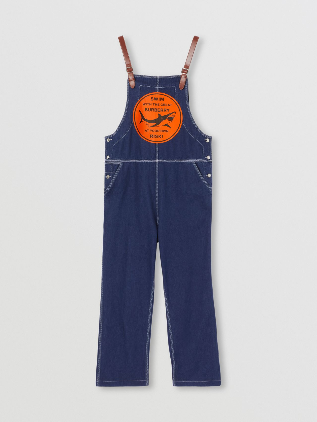 Shark Graphic Denim Bib-front Trousers in Dark Canvas Blue