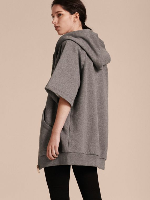 Zip-front Oversize Cotton Jersey Sweatshirt with Hood - cell image 2