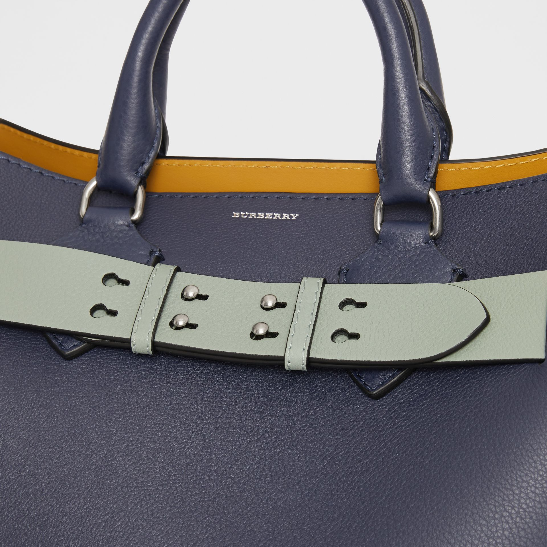 The Medium Belt Bag Grainy Leather Belt in Grey Blue - Women | Burberry Australia - gallery image 1