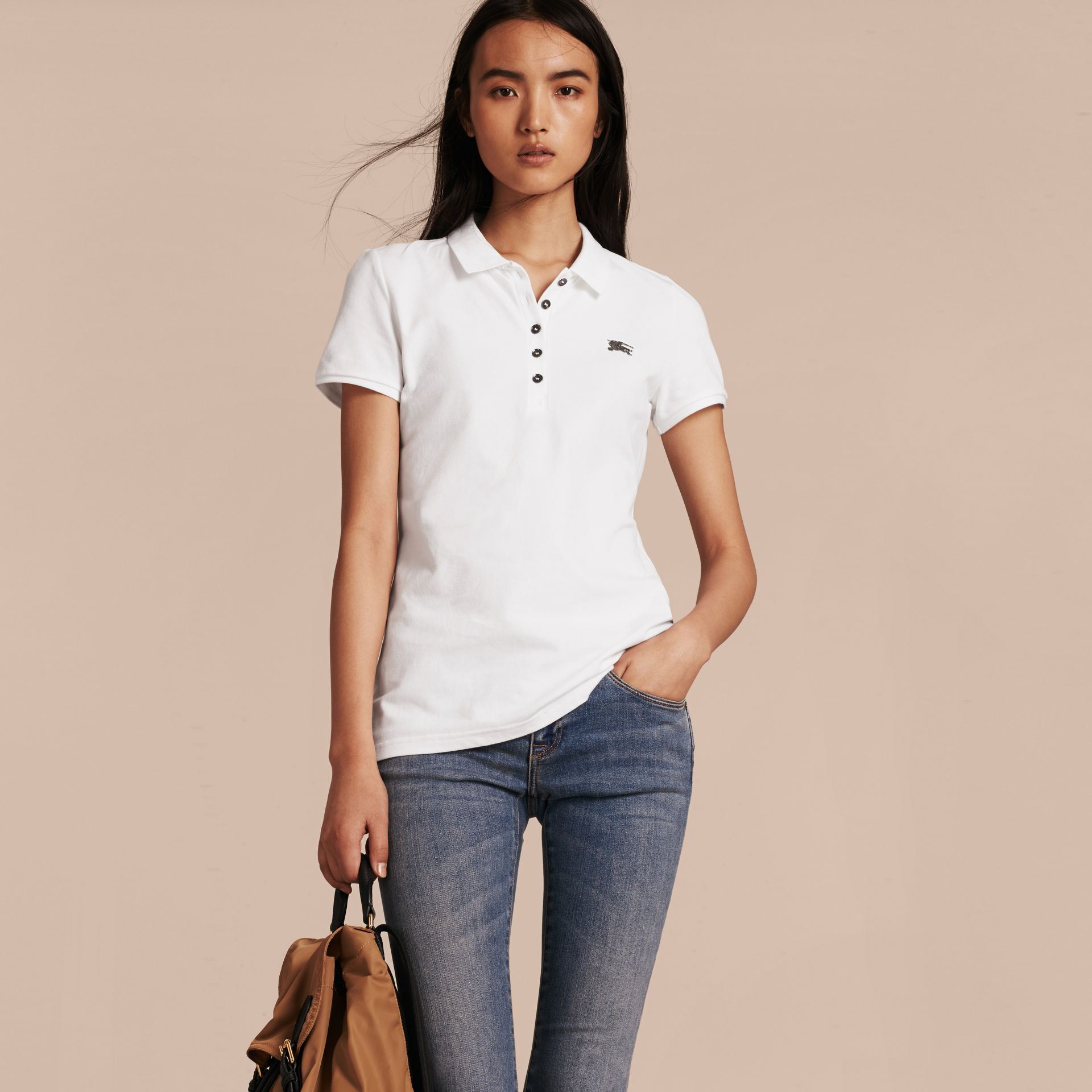 Cotton Piqué Polo Shirt in White - gallery image 6
