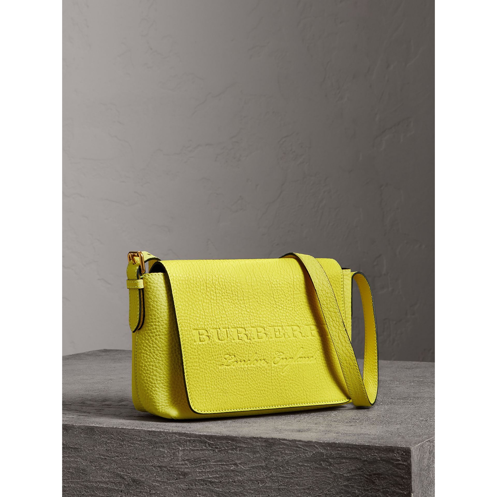 Small Embossed Neon Leather Messenger Bag in Yellow | Burberry - gallery image 8