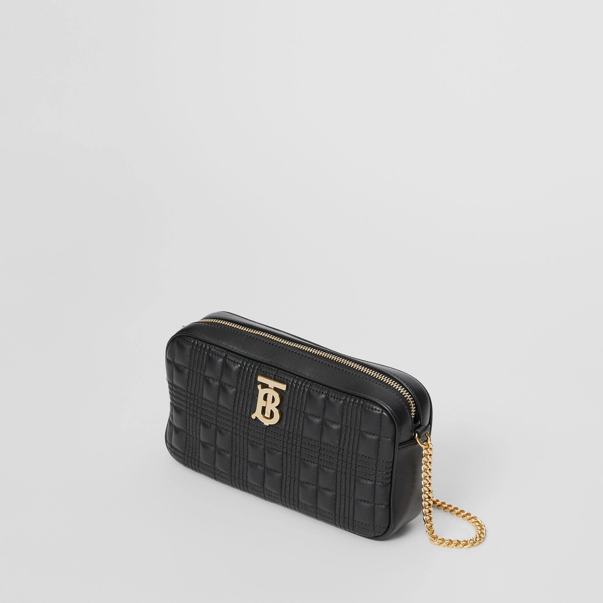 Quilted Check Lambskin Camera Bag in Black - Women | Burberry - gallery image 3