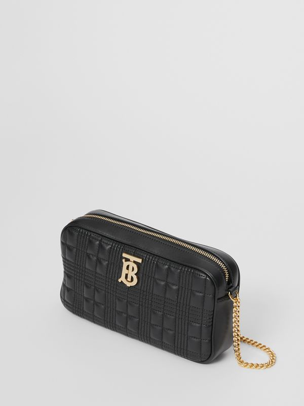Quilted Check Lambskin Camera Bag in Black - Women | Burberry - cell image 3