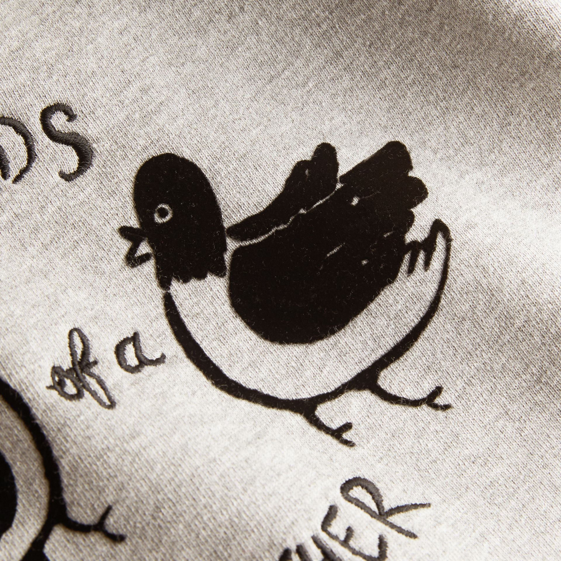 Birds of a Feather Motif Cotton Sweatshirt in Grey Melange | Burberry Hong Kong - gallery image 2