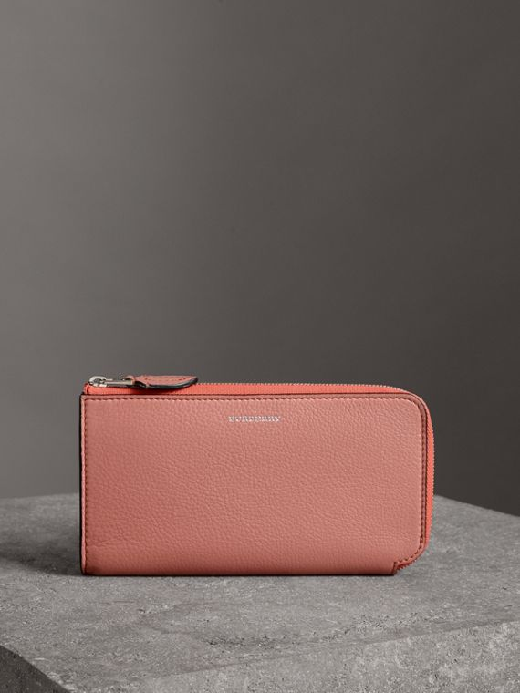 Two-tone Leather Ziparound Wallet and Coin Case in Dusty Rose
