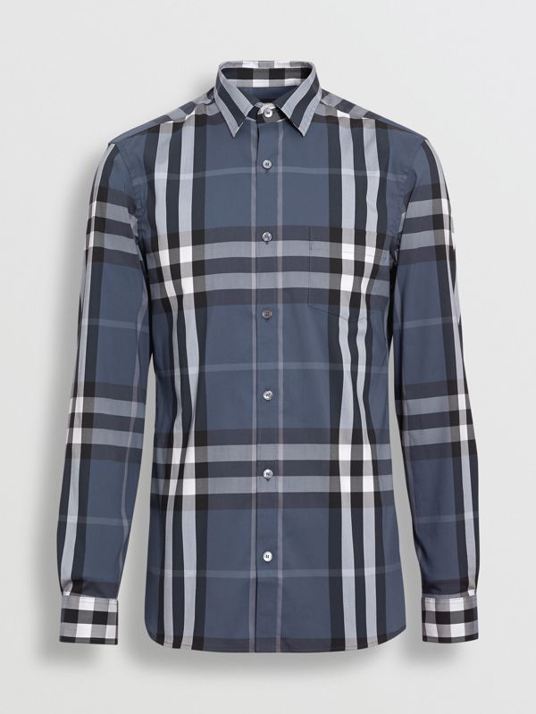 Check Stretch Cotton Shirt in Thistle Blue - Men | Burberry - cell image 3