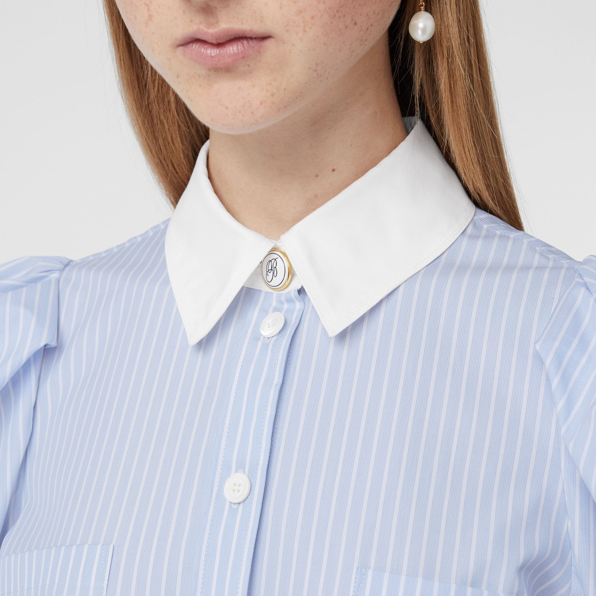 Striped Cotton Poplin Shirt Dress in Pale Blue - Women | Burberry - gallery image 1