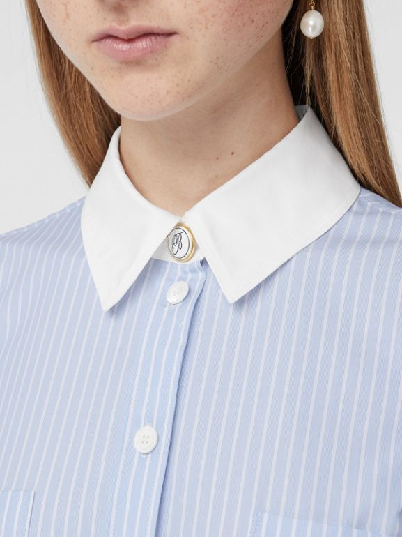 Striped Cotton Poplin Shirt Dress in Pale Blue - Women | Burberry - cell image 1