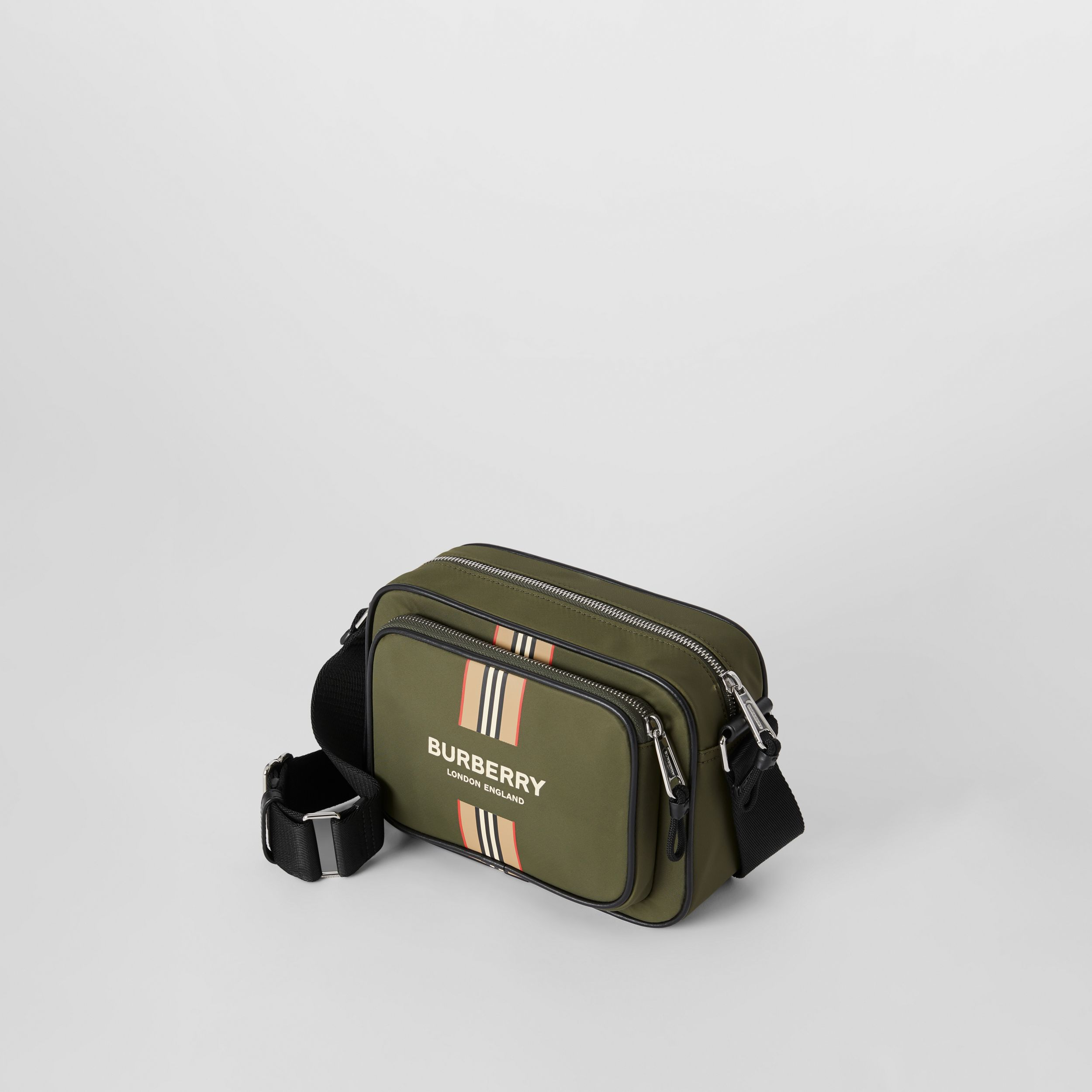 Logo and Icon Stripe Print ECONYL® Crossbody Bag in Dark Olive Green - Men | Burberry Australia - 4