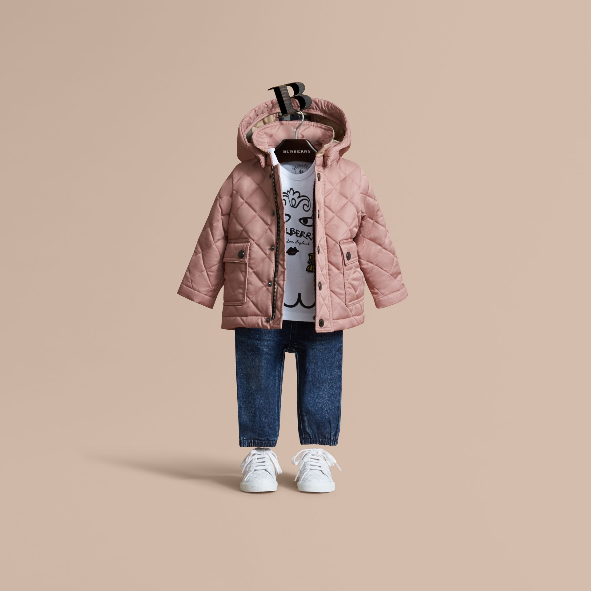 Detachable Hood Quilted Jacket in Pale Rose | Burberry - gallery image 1