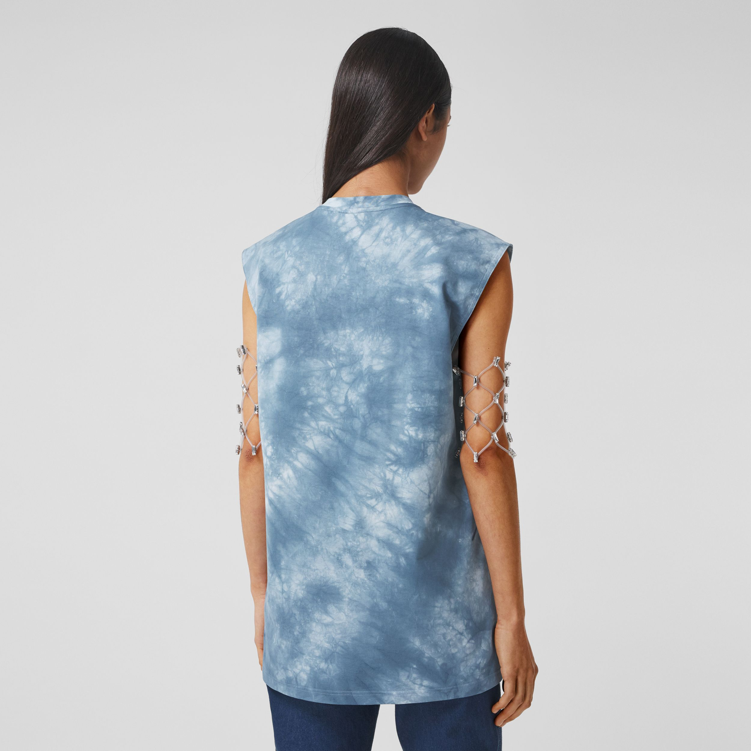 Shark Print Cotton Sleeveless Top in Ink Blue - Women | Burberry - 3