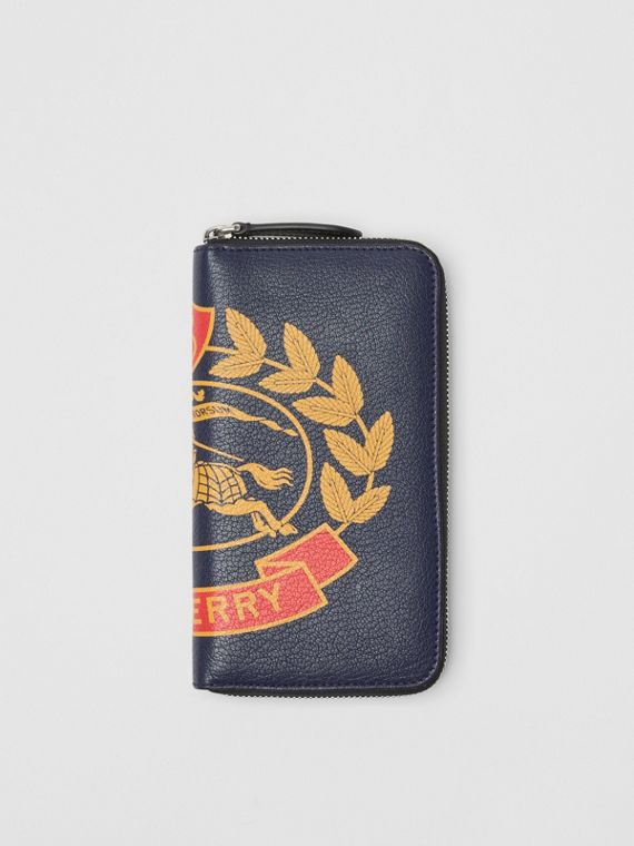 Crest Print Leather Ziparound Wallet in Storm Blue