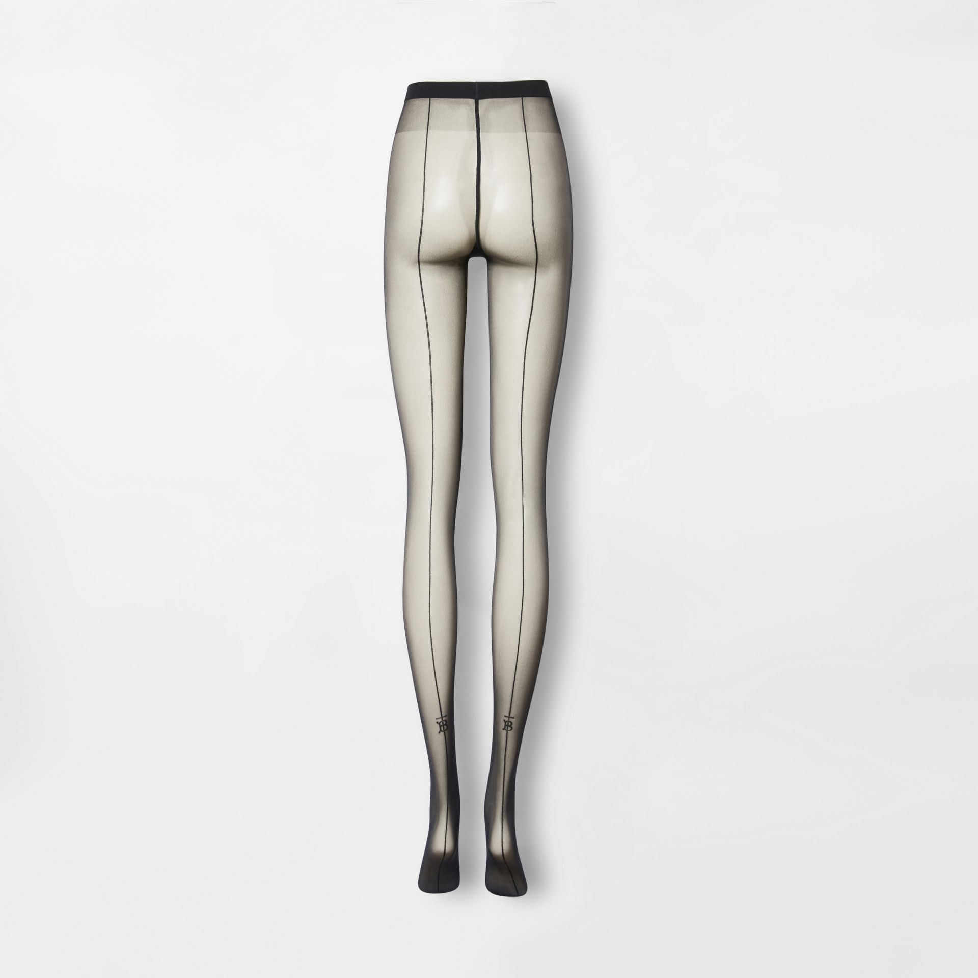 Monogram Motif Seamed Tights in Black - Women | Burberry - gallery image 3