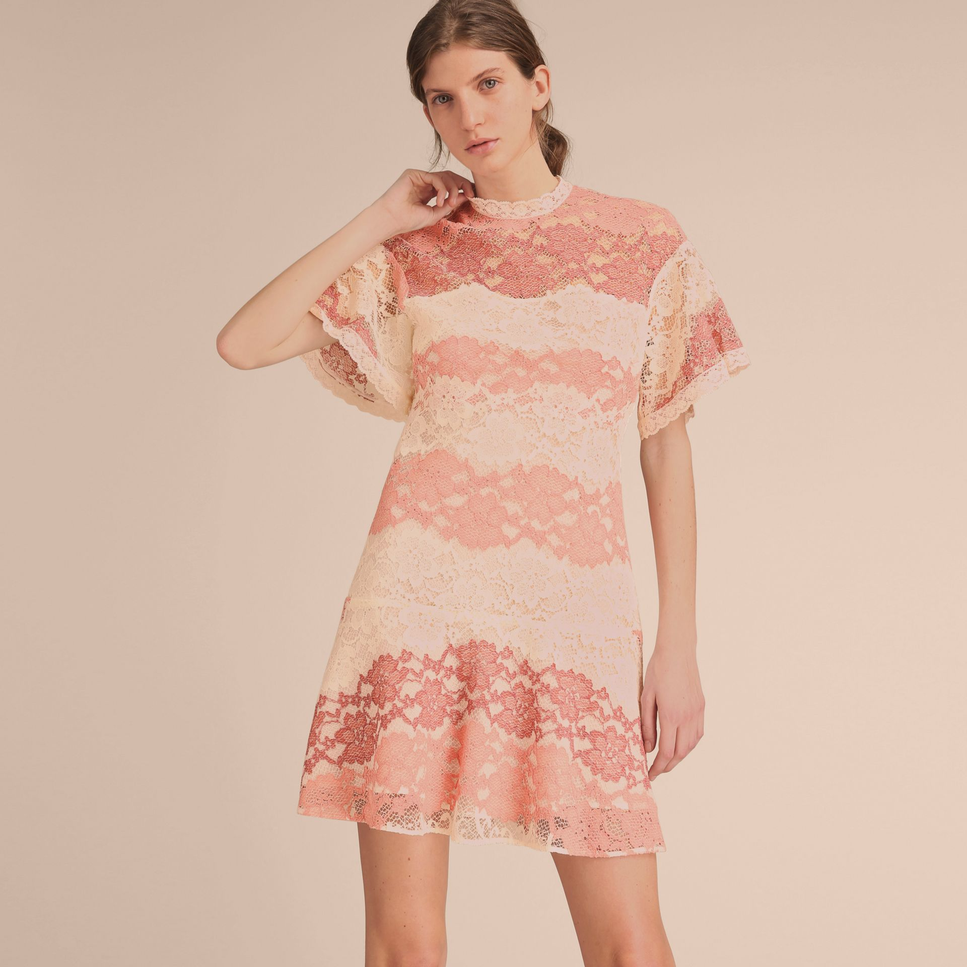 Floral Lace Dress with Flutter Sleeves Dusty Pink - gallery image 6