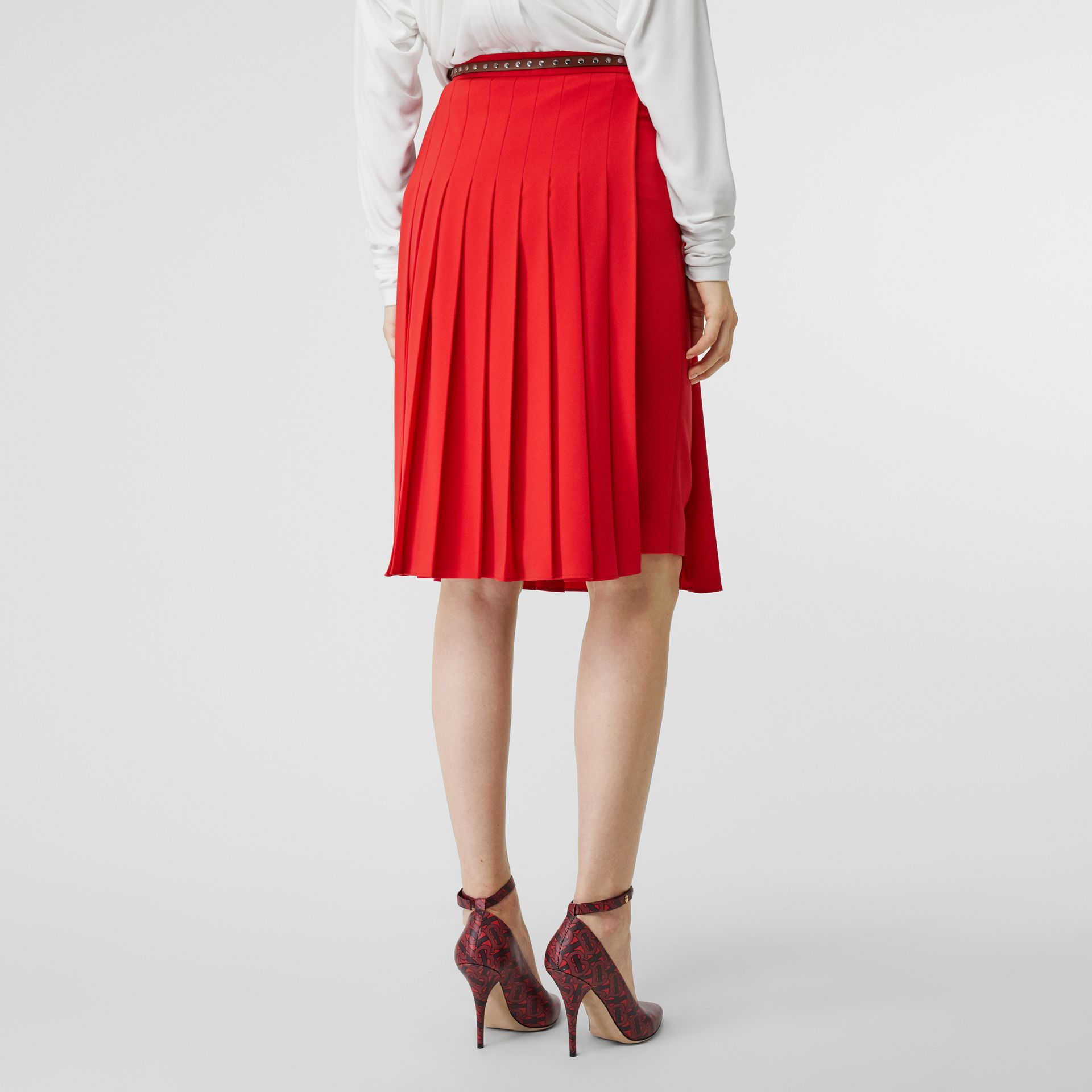 Stretch Cady Pleated Skirt in Bright Red - Women | Burberry - gallery image 2