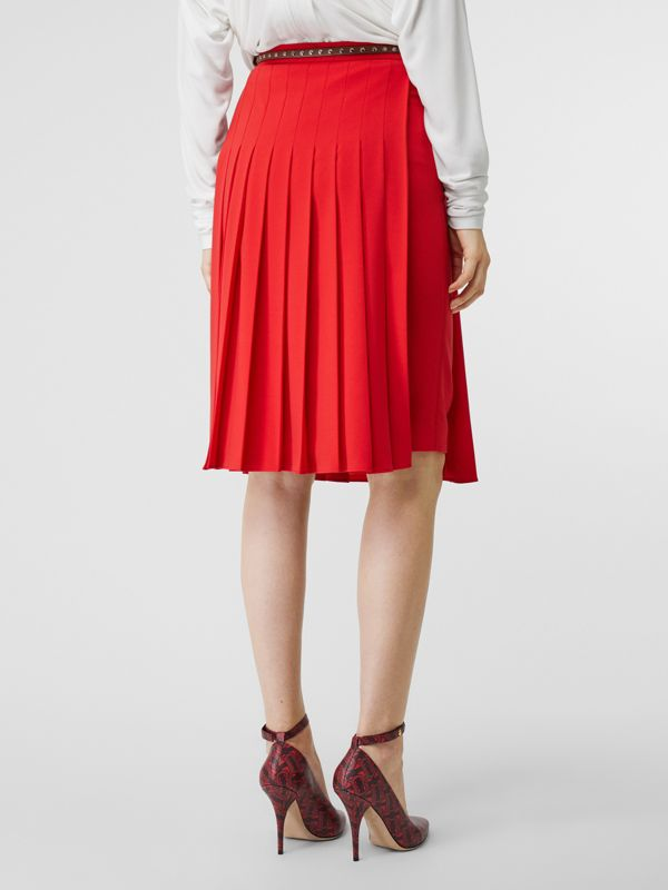 Stretch Cady Pleated Skirt in Bright Red - Women | Burberry Australia - cell image 2