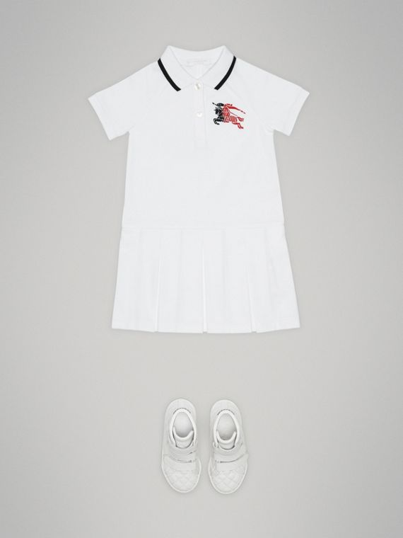 Tape Detail Polo Dress in White